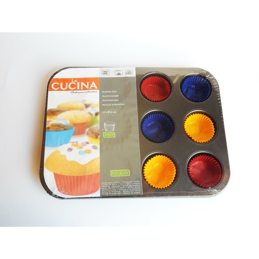 La Cucina muffin sütőforma 12 db-os 60 db színes muffin paírral